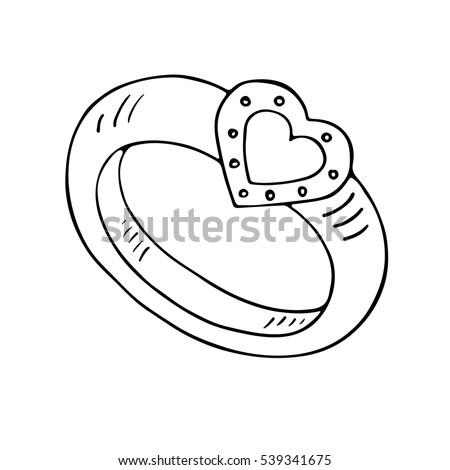 Wedding Ring Icon Heart Outlined On Stock Vector Royalty Free