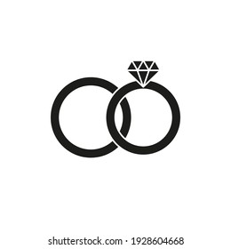 Wedding ring icon. Simple vector illustration on a white background.