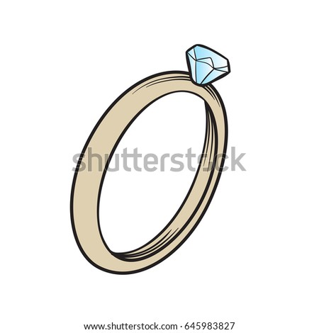 Wedding Ring Romantic Style Great Cards Stock Vector Royalty Free