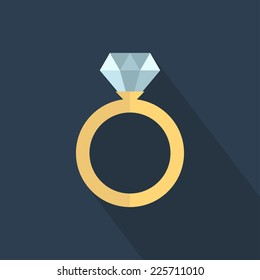 Wedding ring vector icon. Diamond engagement ring vector icon. Flat design