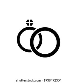 Wedding rings black glyph icon. Isolated vector element. Outline pictogram for web page, mobile app, promo