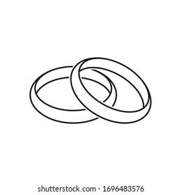Wedding rings contour black, vector illustration on an isolated white background.