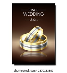 Wedding Rings Creative Promotional Banner Vector. Golden Rings For Married Couple Husband And Wife Advertising Poster. Jewelery Accessories, Hand Finger Decoration Style Concept Template Illustration
