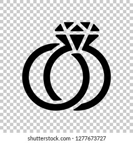 Wedding rings with diamond, icon. Black symbol on transparent background
