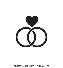 wedding rings with a heart icon. Valentine's Day elements. Premium quality graphic design icon. Simple love icon for websites, web design, mobile app, info graphics on white background