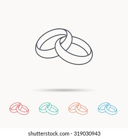 Wedding rings icon. Bride and groom jewelery sign. Linear icons on white background. Vector