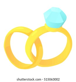 Wedding rings icon. Cartoon illustration of wedding rings vector icon for web