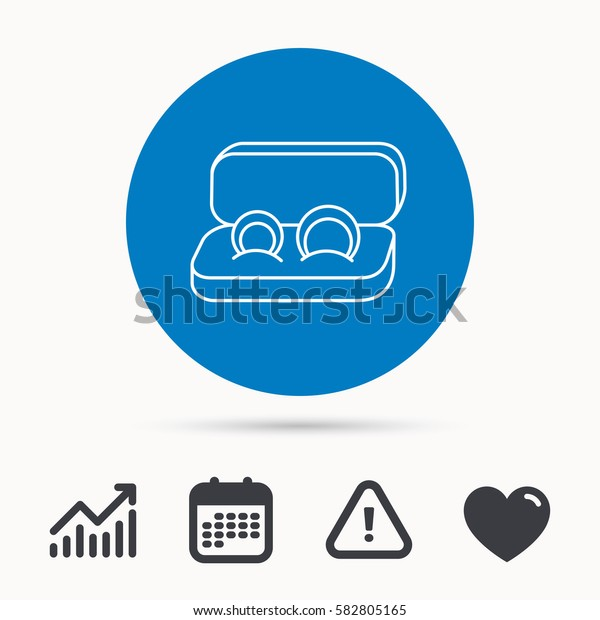Wedding rings icon. Jewelry sign. Marriage symbol. Calendar, attention sign and growth chart. Button with web icon. Vector