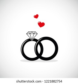 wedding rings icon with red heart vector illustration EPS10