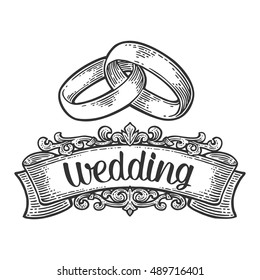 Wedding rings with lettering. Hand drawn in a graphic style. Vintage black vector engraving illustration for infographic, poster, web. Isolated on white background