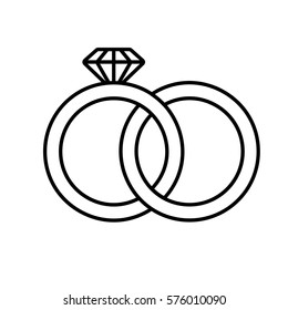 Wedding rings linear icon. Thin line illustration. Interlocked wedding ring with diamond contour symbol. Vector isolated outline drawing