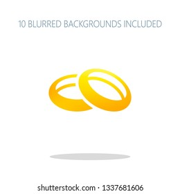 Wedding rings, pair circles, simple icon. Colorful logo concept with simple shadow on white. 10 different blurred backgrounds included