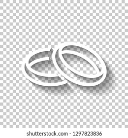 Wedding rings, pair crossed and linked circles, linear outline icon. White icon with shadow on transparent background