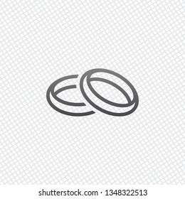 Wedding rings, pair crossed and linked circles, linear outline icon. On grid background