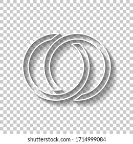 Wedding rings, pair linked circles, simple icon. White outline sign with shadow on transparent background