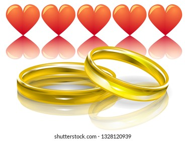 Wedding rings and pink hearts. 10 EPS
