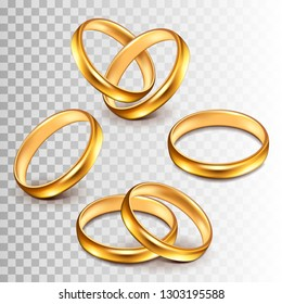 Wedding rings set isolated on white photo-realistic vector illustration