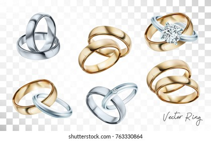 Wedding rings set of silver, gold metal with diamonds, zircons and gems on transparent background isolated vector illustration for ads, flyers, wed site sale elements design