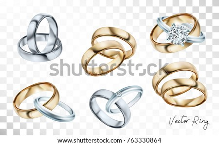Wedding Rings Set Silver Gold Metal Stock Vector Royalty Free