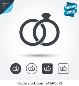 Wedding rings sign icon. Engagement symbol. Circle and square buttons. Flat design set. Thank you ribbon. Vector