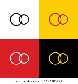 Wedding rings sign. Vector. Icons of german flag on corresponding colors as background.