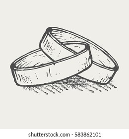 Wedding rings sketch. Vector illustration.