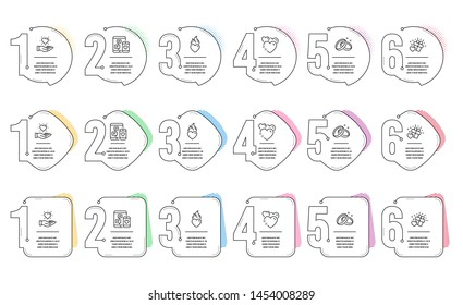 Wedding rings, Social media and Heart flame line icons set. Infographic timeline. Hold heart, Love gift signs. Love, Mobile devices. Love set. Steps or options template. Vector