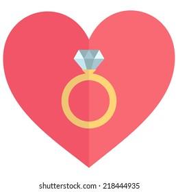 Wedding rings vector icon. Diamond engagement ring vector icon. Flat design