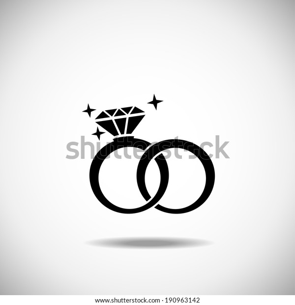 Wedding Rings Vector Icon On White Stock Vector Royalty Free 190963142