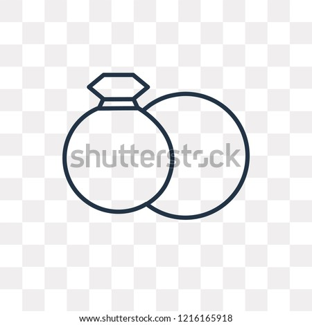 Wedding Rings Vector Outline Icon Isolated Stock Vector Royalty