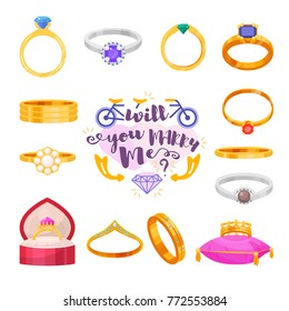 Wedding rings vector set engagement symbol gold silver jewellery for proposal marriage wed sign marry me lettering illustration isolated on white background.