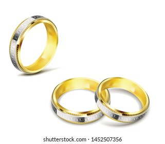 wedding rings, very beautiful, with white gold inserts and patterns