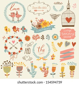 Wedding romantic collection with labels, ribbons, hearts, flowers, arrows, wreaths cage, birds, laurel and birds. Graphic set in retro style and bright colors. Save the Date invitation in vector.