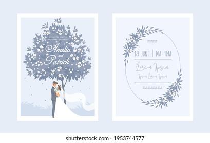 Wedding romantic Invitation card. Bride and groom on wedding ceremony. Vector illustration.