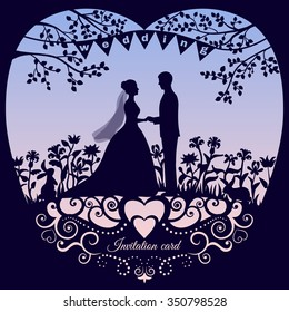 Wedding romantic invitation card with silhouette bride and groom. Backdrop with gradient rose quartz and serenity colors (trendy fashion color of the year 2016). Vector illustration.