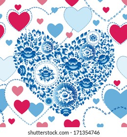 Wedding romantic seamless pattern with hearts, flowers in retro style. vector