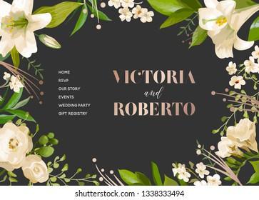 Wedding Salon Internet Shop Floral Landing Page Template. Spring Sale Banner Web Page Website with Flowers. Wedding Invitation Romantic Design. Vector illustration