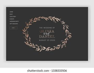 Wedding Salon Internet Shop Floral Landing Page Template. Spring Sale Banner Web Page Website with Gold Foiled Flowers. Wedding Invitation Romantic Design. Vector illustration