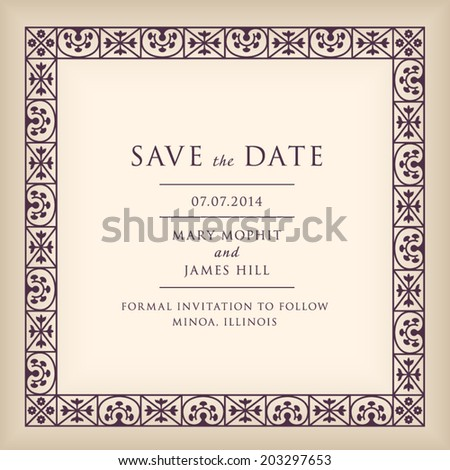 Wedding Save Date Border Frame Renaissance Stock Vector (Royalty ...
