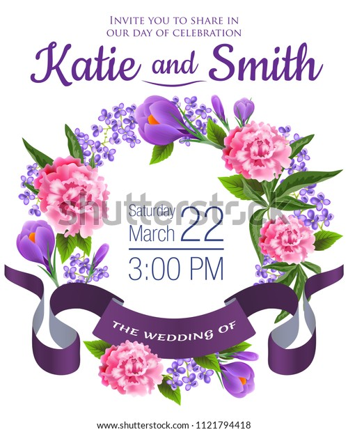 Wedding save the date design with snowdrops, peonies, floral wreath and violet ribbon. Text can be used for invitation cards, postcards, announcements