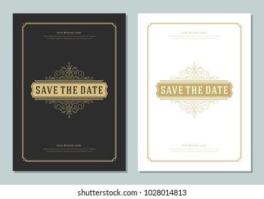 Wedding save the date invitation card vector illustration. Wedding invite title vintage design. Golden style.