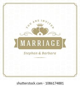 Wedding save the date invitation card design template vector illustration. Wedding invite title vintage typographic badge.