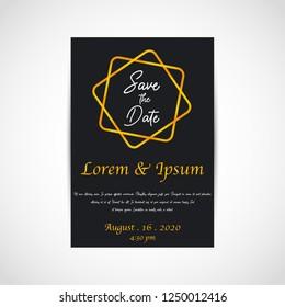 Wedding save the date, invitation card, black background, vector, illustration, eps file