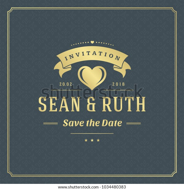 Wedding Save Date Invitation Card Vector Stock Vector