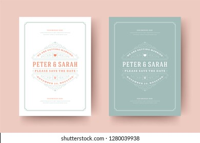 Wedding save the date invitation cards flourishes ornaments. Wedding invite title design. Vintage victorian frames and decorations. Vector elegant template.