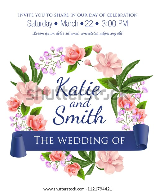 Wedding save the date template with floral wreath, roses, blossoms and violet ribbon. Text can be used for invitation cards, postcards, announcements