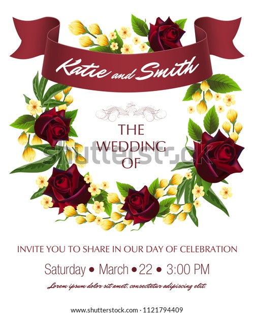Wedding save the date template with roses, yellow floral wreath and maroon ribbon. Text can be used for invitation cards, postcards, announcements