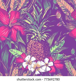 Wedding seamless pattern design with exotic tropical flowers and leaves. vector