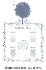 Wedding Seating Chart. Includes Tables List, Tree, Birds and Floral Frame. Vector Illustration with Flat Design.