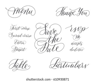 Wedding Set with calligraphy and lettering. Save the date. Menu. RSVP. Table. Thank you.